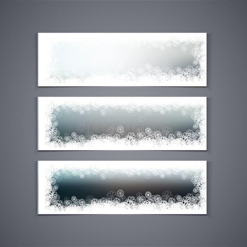 Vinterbaneruppsättning med att snöa gränsen royaltyfri illustrationer