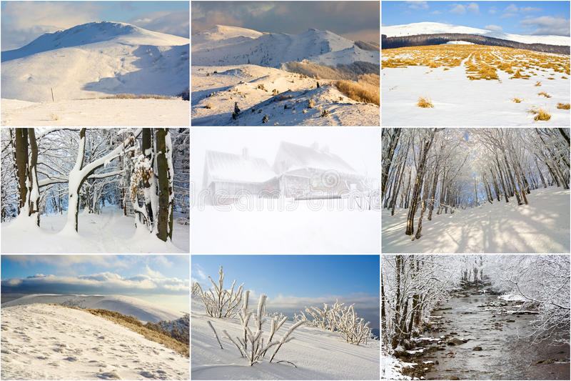 Vinterberg landskap, collage arkivbilder