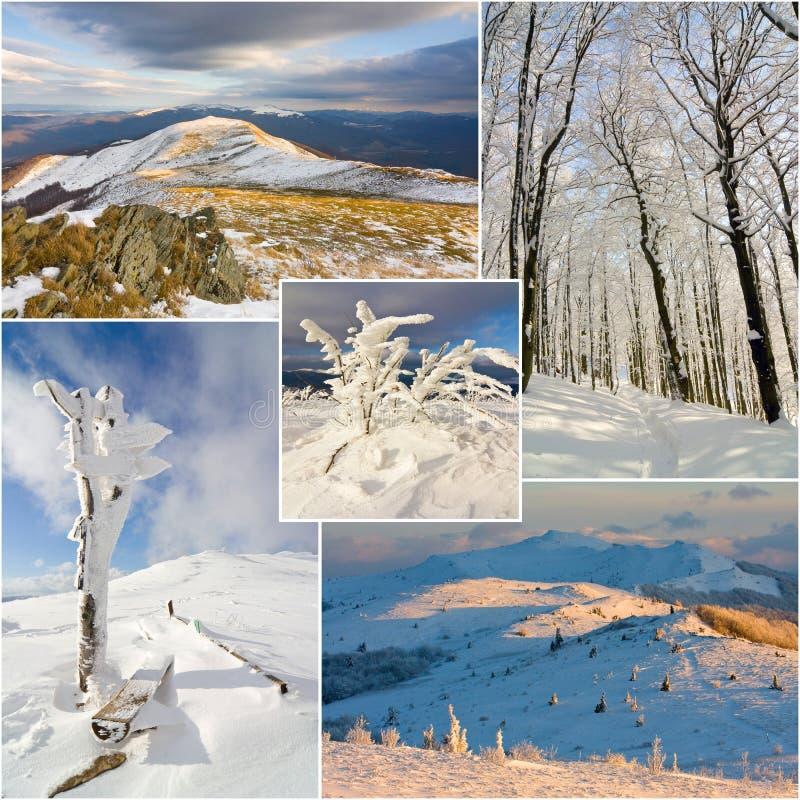 Vinterberg landskap, collage royaltyfri foto
