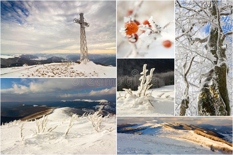 Vinterberg landskap, collage royaltyfri fotografi