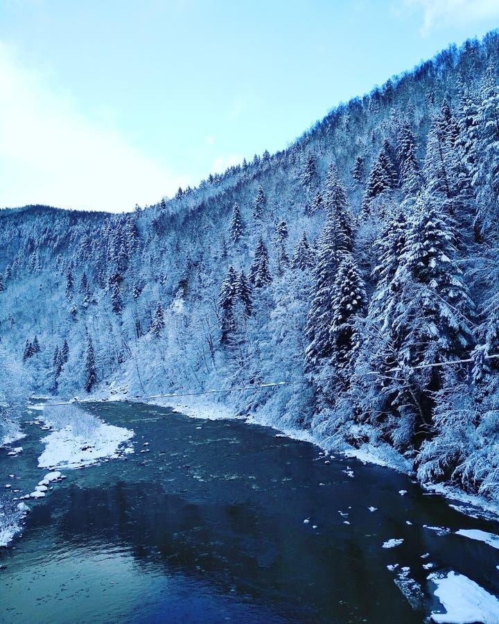 Vinterberg och flod fotografering för bildbyråer