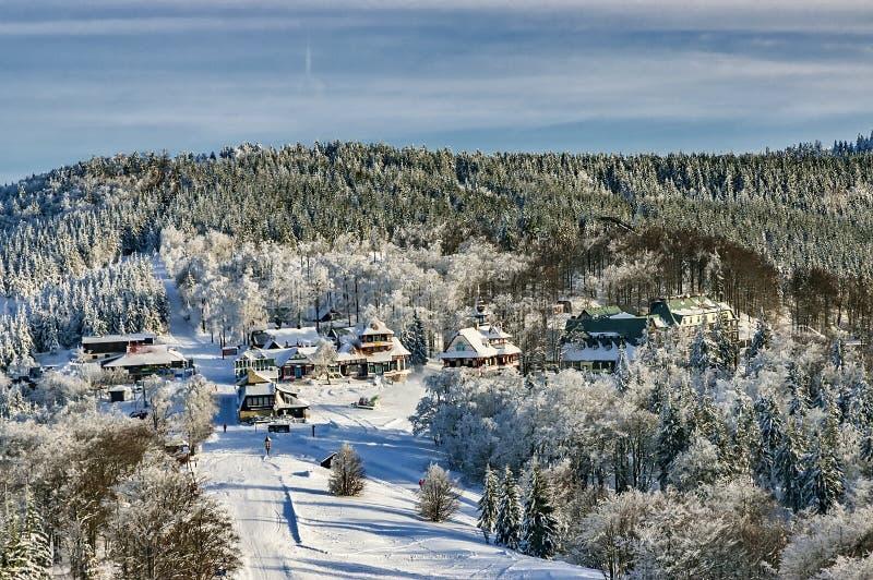 Vinterberglandskap Pustevny-Beskydy arkivbild