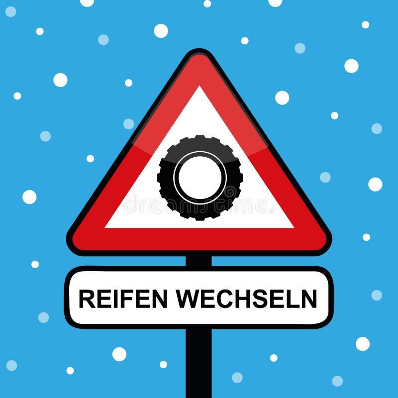 Vinterbilgummihjul i ett triangelvägmärke med ändringsgummihjultypografi royaltyfri illustrationer