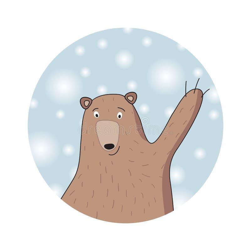 Vinterbjörn Chrismas kort stock illustrationer