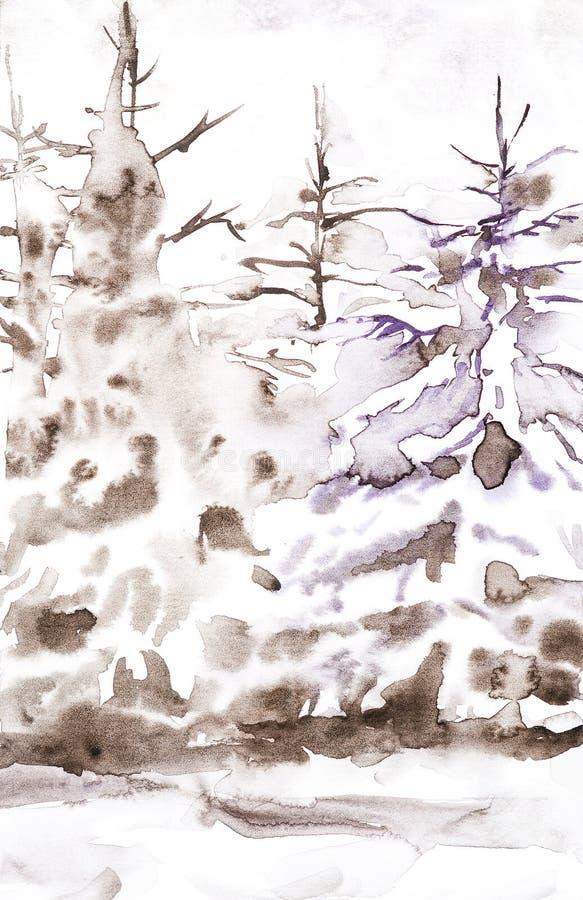 Vinterbruntlandskap av illustrationen för vattenfärg för snöig skoghand den utdragna royaltyfri illustrationer