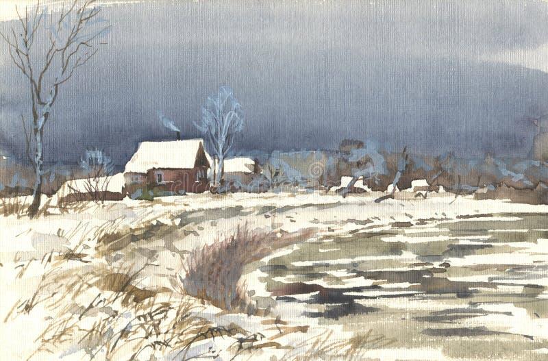 Vinterbygd vektor illustrationer