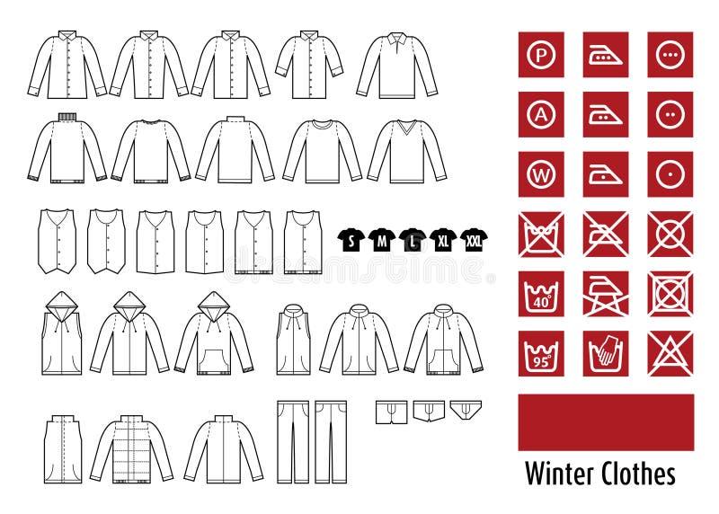 Vinterclothesand beklär symbolen royaltyfri illustrationer