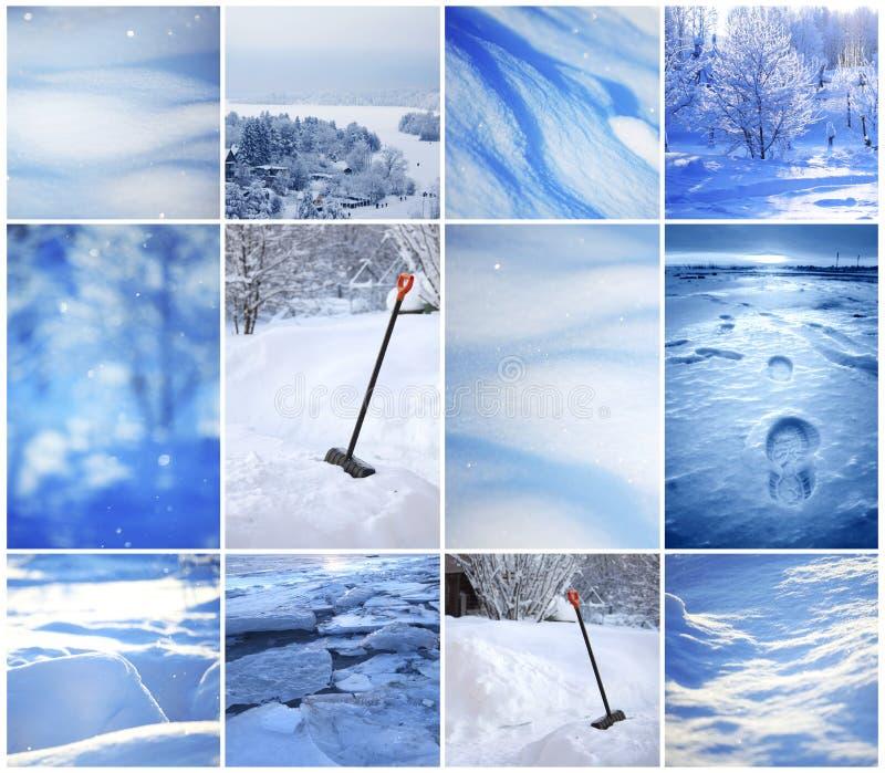 Vintercollage av bakgrunder fotografering för bildbyråer