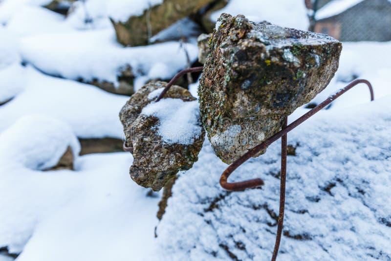 Vinterdag, snö med spillror fotografering för bildbyråer