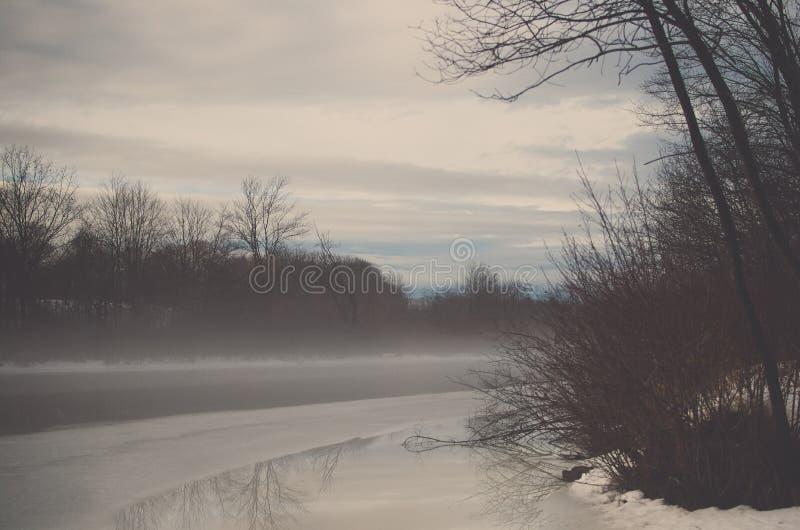 Vinterdimma på floden arkivfoto