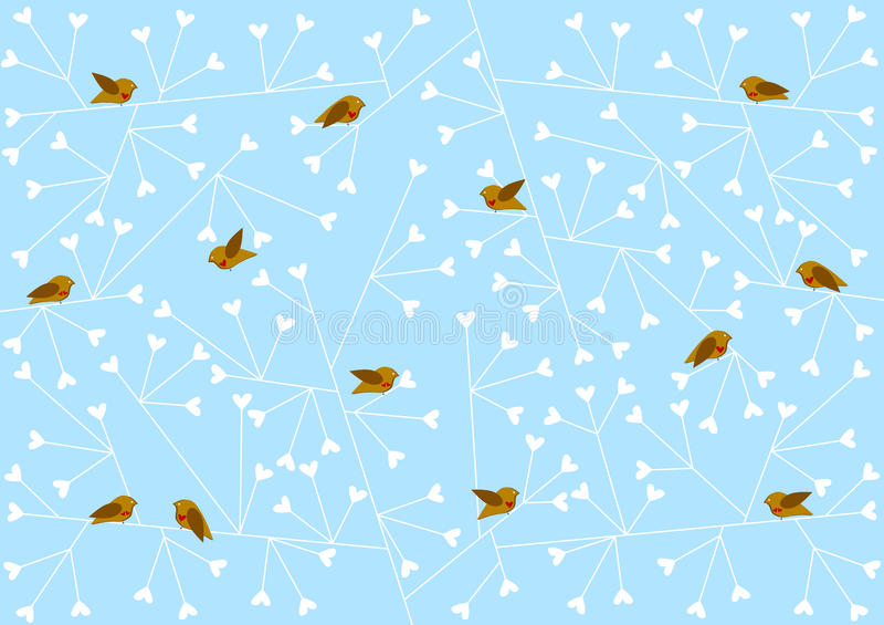 Vinterfåglar på hjärtafilialer stock illustrationer