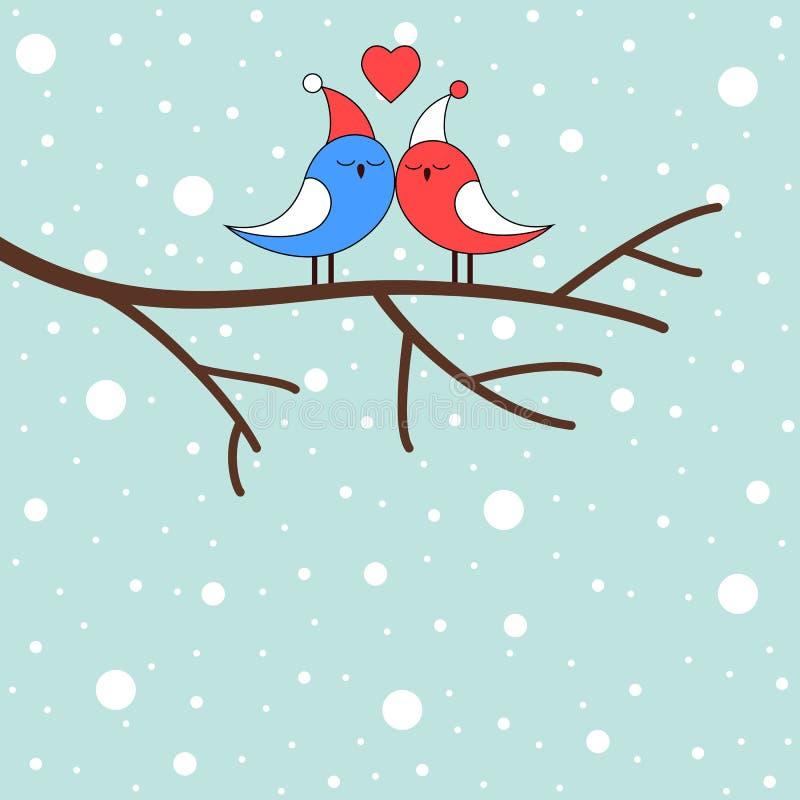Vinterförälskelsefåglar på en filial stock illustrationer