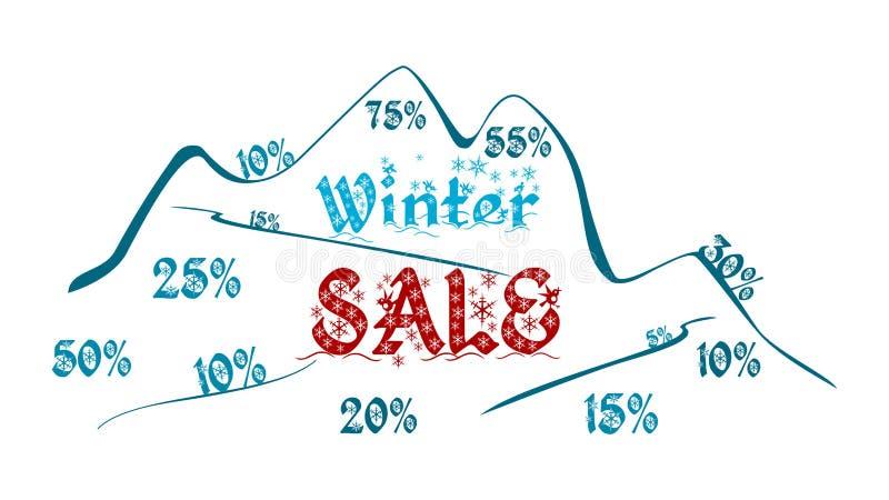 Vinterförsäljning - berg mycket av rabatter royaltyfri illustrationer