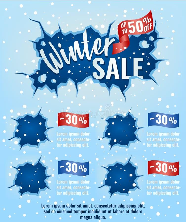 Vinterförsäljning, mall, design för emailmarknadsföring som annonserar royaltyfri illustrationer