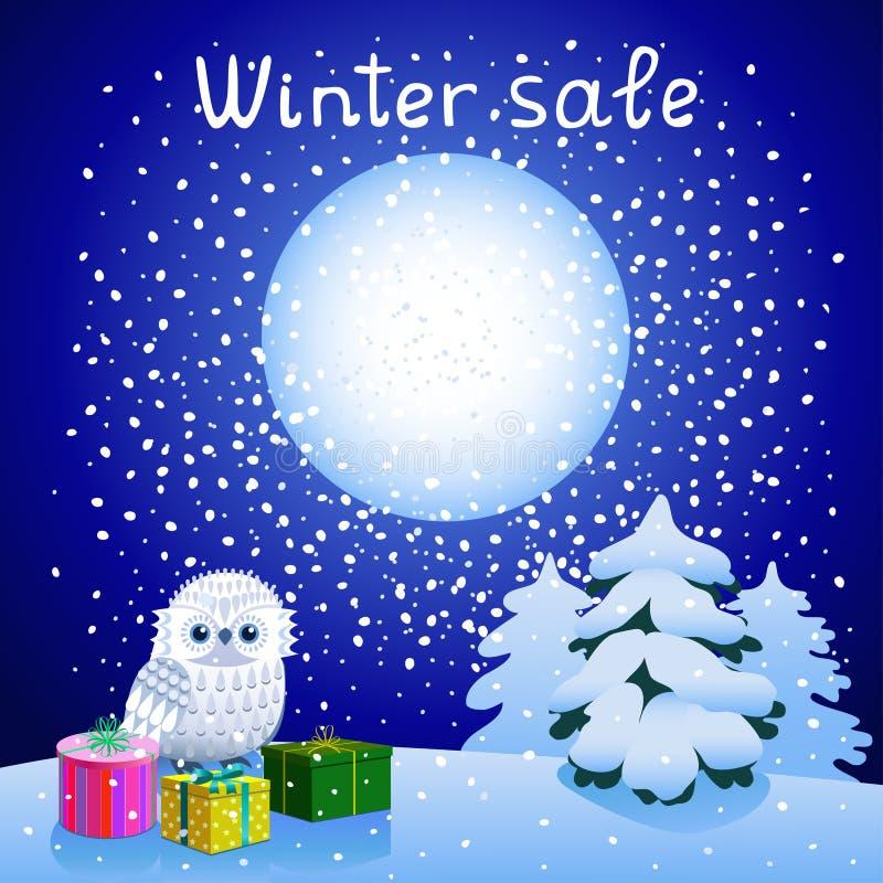 Vinterförsäljning med uggleungen vektor illustrationer