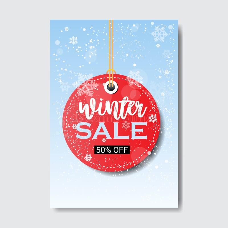 Vinterförsäljning som märker affischen för begrepp för erbjudande för special rabatt för mall för shopping för säsong för designr royaltyfri illustrationer