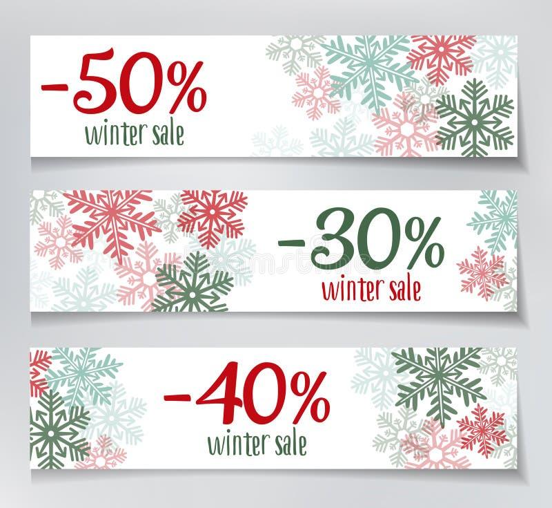 Vinterförsäljningsbaner vektor illustrationer