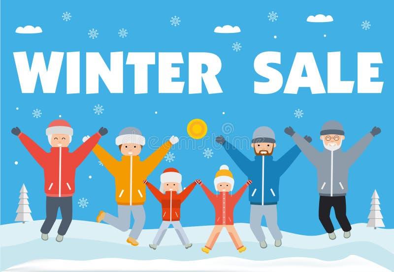 Vinterförsäljningsbaner Den lyckliga stora familjen i vinter beklär banhoppning upp och ner vektor illustrationer