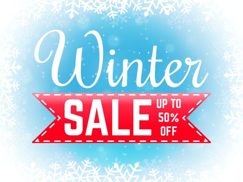 Vinterförsäljningsbaner med snöflingor Affisch för specialt erbjudande vektor illustrationer