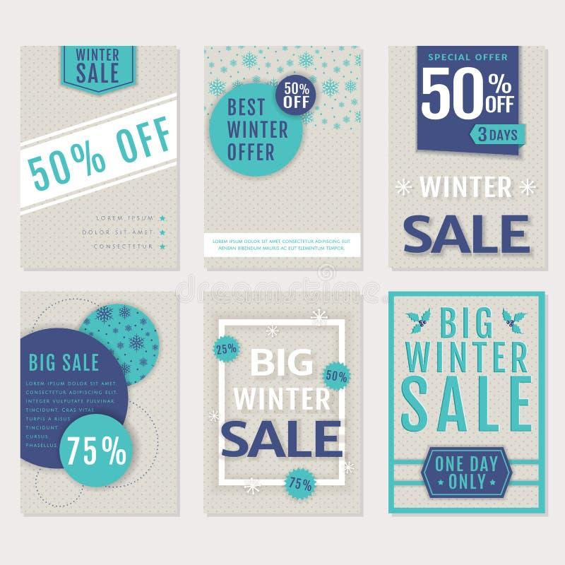 Vinterförsäljningsbaner vektor för set för tecknad filmhjärtor polar vektor illustrationer