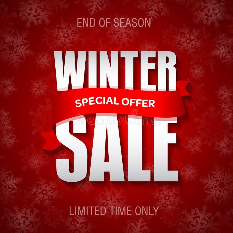 Vinterförsäljningsemblem, etikett, promobanermall Erbjudande för special försäljning stock illustrationer