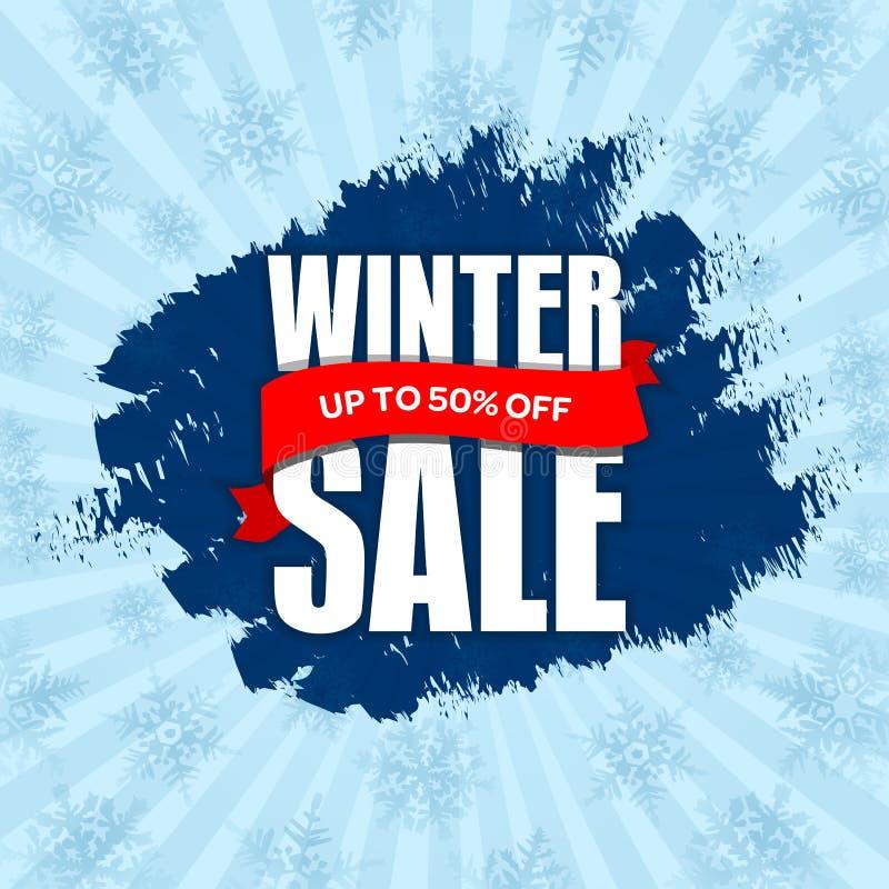 Vinterförsäljningsemblem, etikett, promobanermall Upp till 50% AV D stock illustrationer