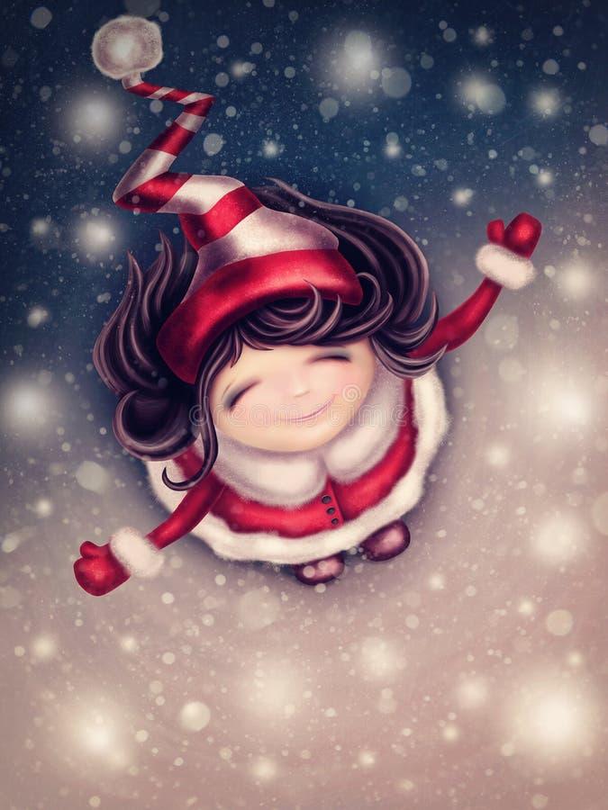 Vinterfeflicka stock illustrationer