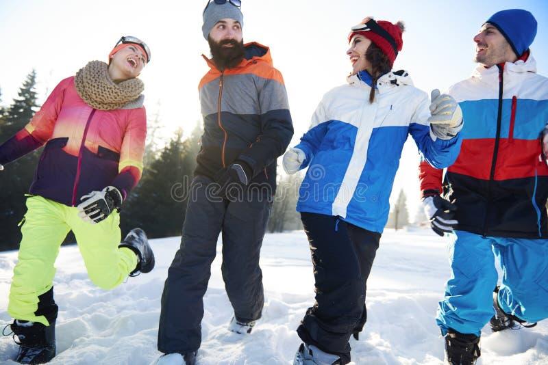 Vinterferie för vänner royaltyfria foton