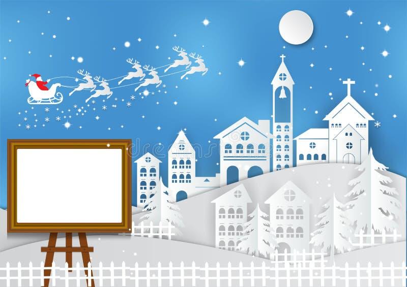 Vinterferie med hemmet, den Santa Claus och fotoramen stock illustrationer