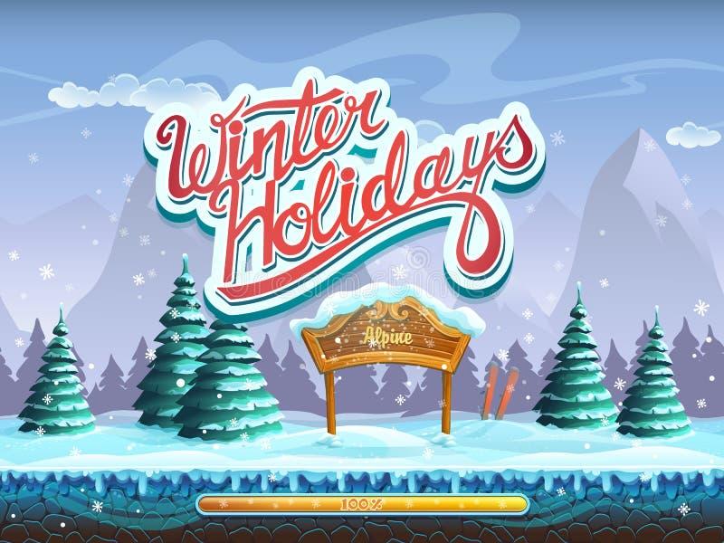 Vinterferier startar skärmfönstret för dataspelen stock illustrationer