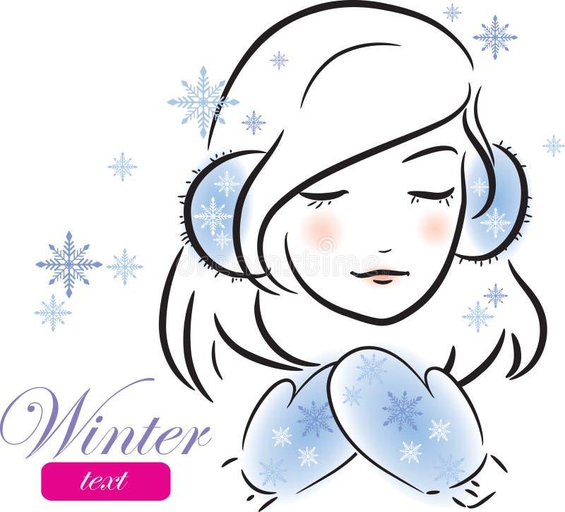 Vinterflicka med mittens och öronskydd royaltyfri illustrationer
