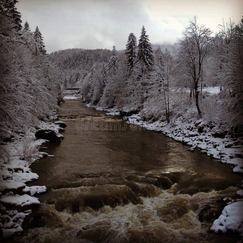 Vinterflod på berg royaltyfri bild