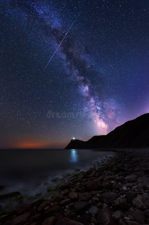 Vintergatan över udde Emine, Bulgarien royaltyfria foton