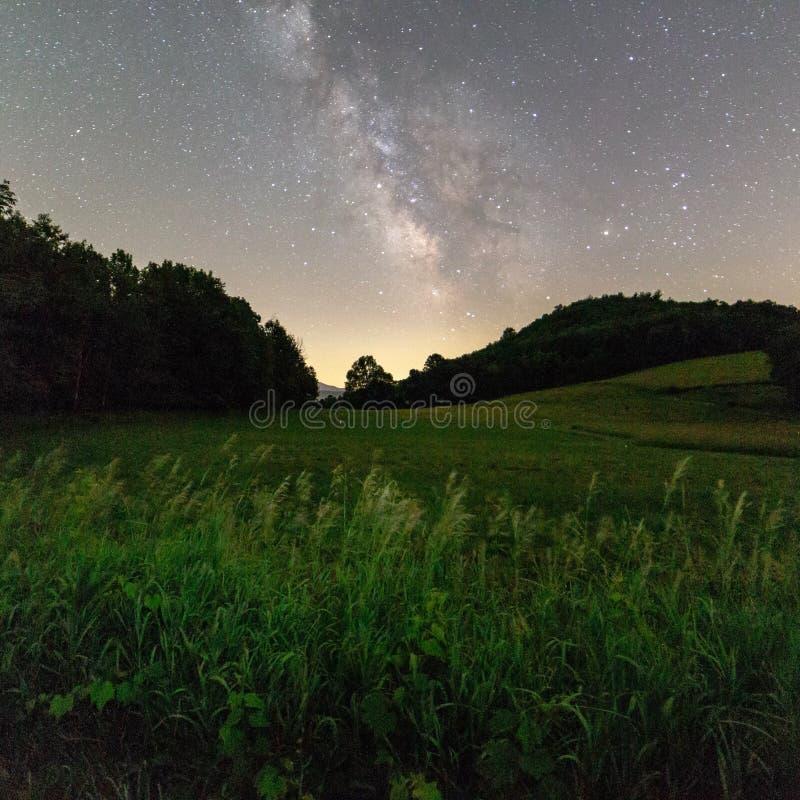 Vintergatan i en klar landsnatt royaltyfria bilder