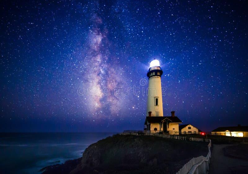 Vintergatan på duvapunktfyren, Pescadero, Kalifornien royaltyfria foton