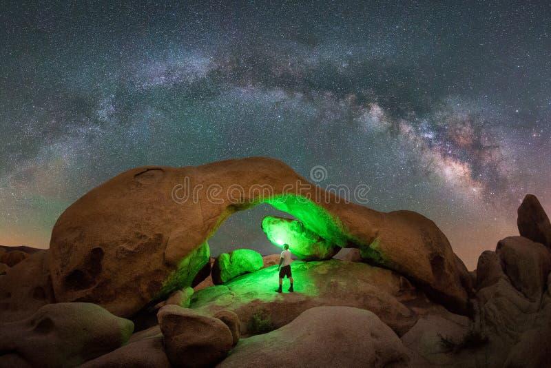 Vintergatanpanorama över båge vaggar arkivbild