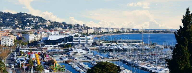 Vintergrön panorama - Cannes Frankrike jpg royaltyfri foto