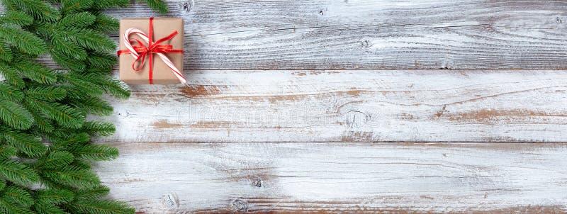 Vintergröna filialer för julferie på vit lantlig träbakgrund royaltyfria bilder