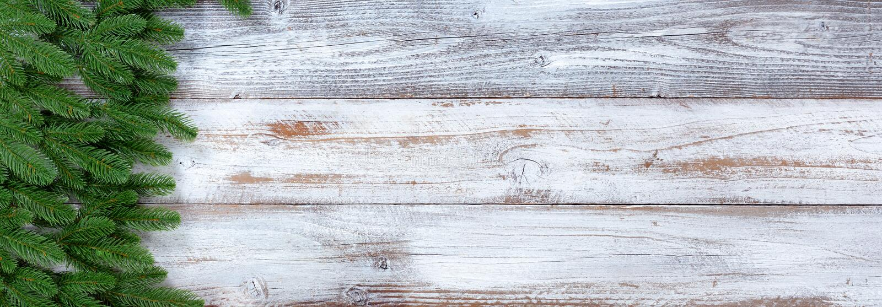 Vintergröna filialer för traditionell julferie på vit lantlig träbakgrund arkivbild