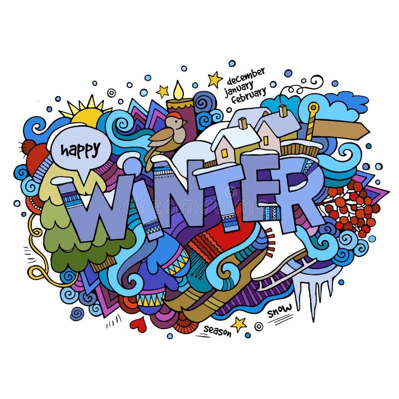 Vinterhandbokstäver och klotterbeståndsdelar royaltyfri illustrationer
