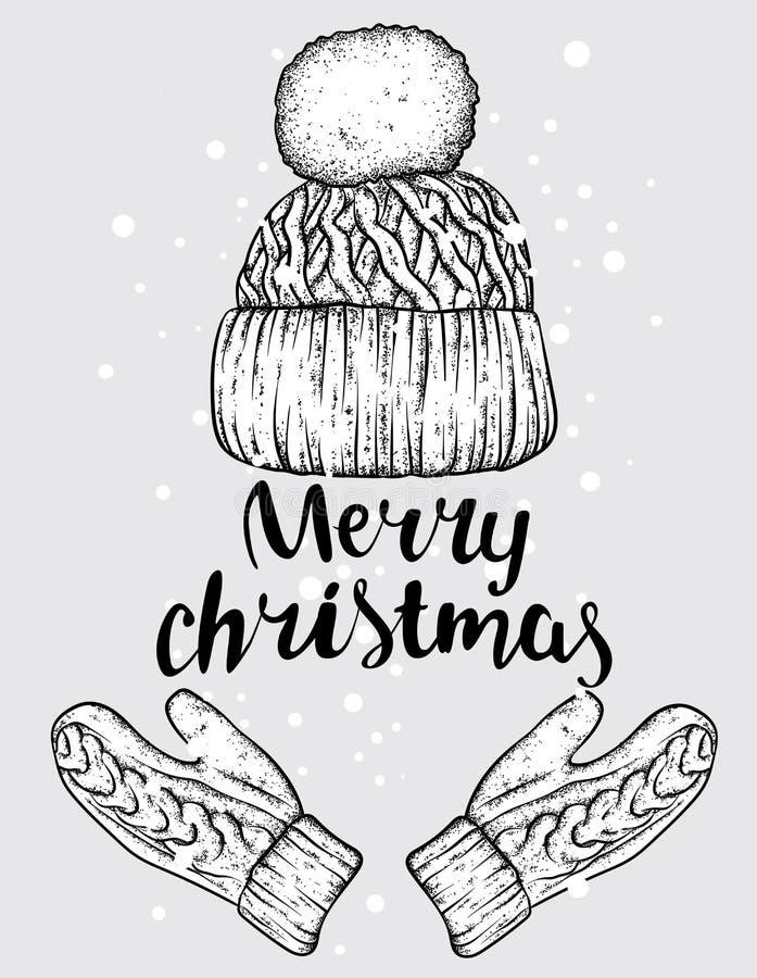 Vinterhatt och handskar stack mittens Vektorillustration för en vykort eller en affisch, tryck för kläder royaltyfri illustrationer