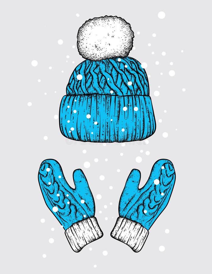 Vinterhatt och handskar stack mittens Vektorillustration för en vykort eller en affisch, tryck för kläder stock illustrationer