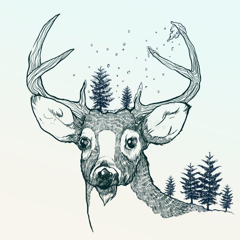 Vinterhjortar stock illustrationer