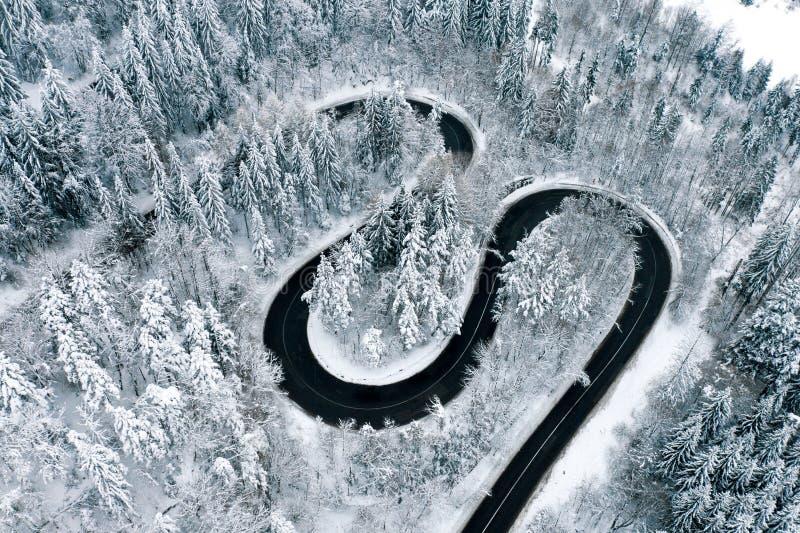 Vinterhuvudvägho en flyg- sikt för skog royaltyfri foto
