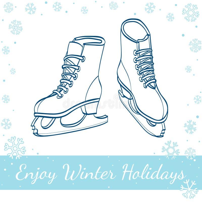 Vinterisskridskor Tecknad illustration för vektor hand royaltyfri illustrationer