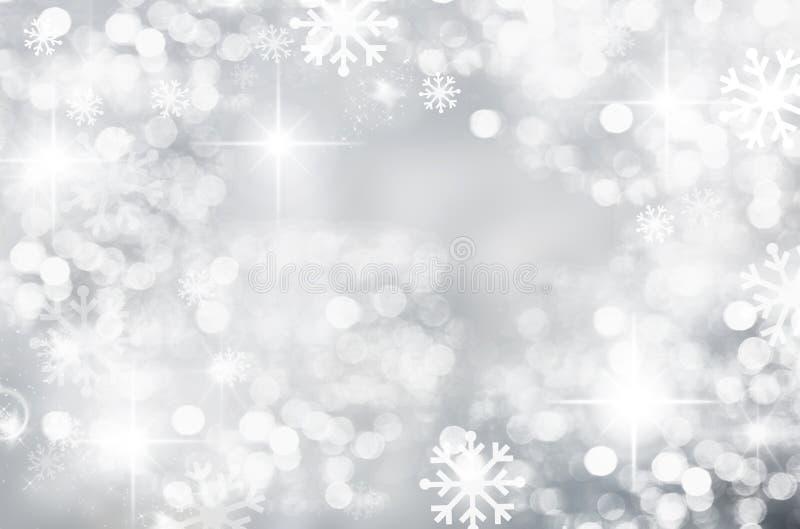 Vinterjul bakgrund, silver, bokeh, gjord suddig vit snowf stock illustrationer