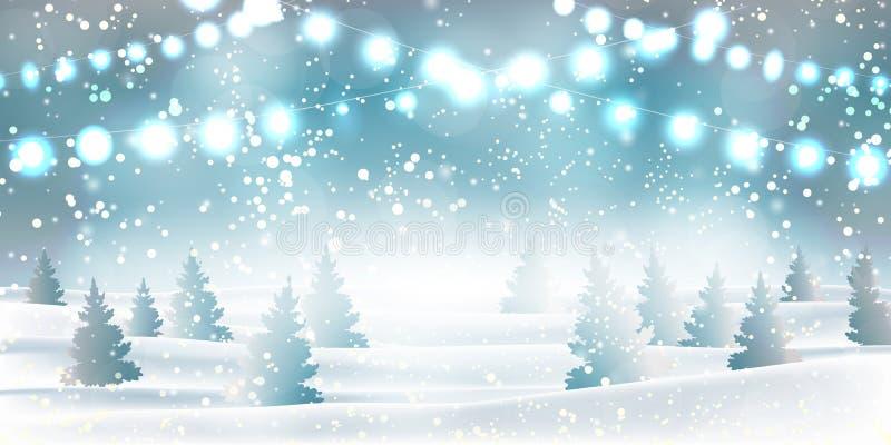 Vinterjul och snöfall för bakgrund för nytt år tungt, snöflingor av olika former och former, snödrivor, girlander, jul stock illustrationer