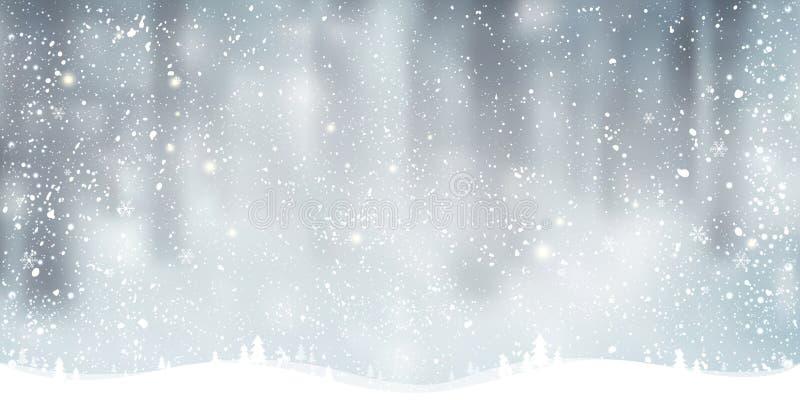 Vinterjulbakgrund med landskap, snöflingor, ljus, stjärnor vektor illustrationer