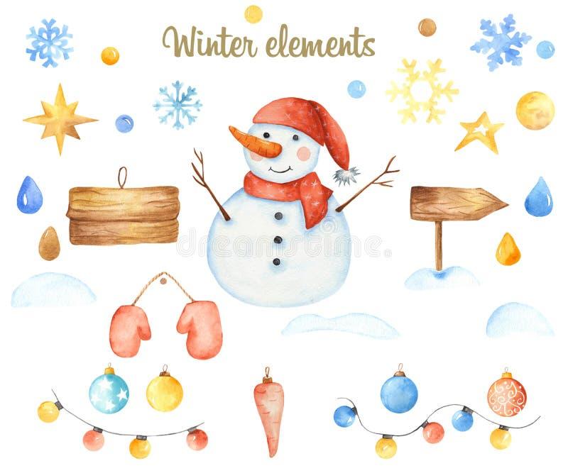 Vinterjulbeståndsdelar vektor illustrationer