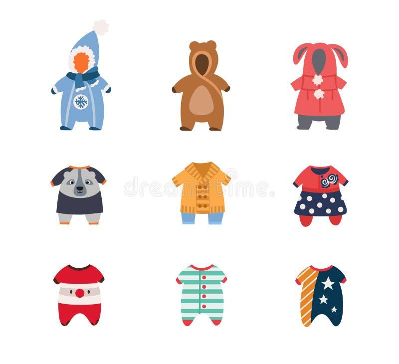 Vinterkläder för behandla som ett barn och barn, en uppsättning av plana symboler royaltyfria bilder